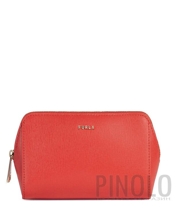 Кожаная косметичка Furla Electra 1055766 красная