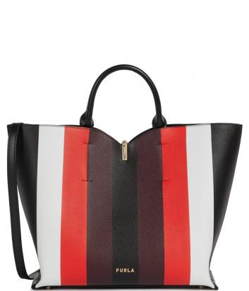 Кожаная сумка FURLA RIBBON 1055903 в цветную полоску