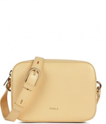 Кожаная сумка через плечо FURLA BLOCK 1060309 бежевая
