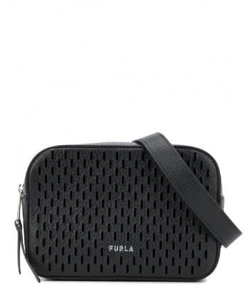 Поясная сумка FURLA BLOCK 1060322 в перфорированной коже черная
