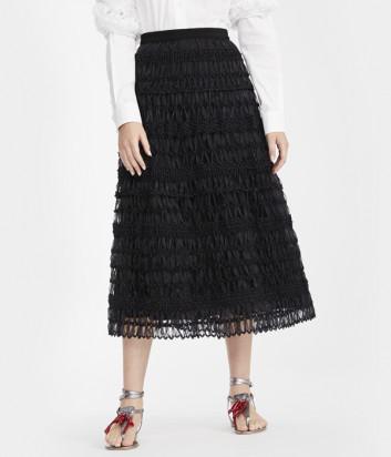 Фактурная юбка WEEKEND Max Mara SEGALE WE51010101 из плетеной органзы черная