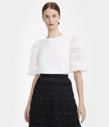 Блуза WEEKEND Max Mara EXPLOIT WE59410101 с фактурными рукавами белая