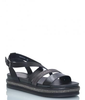 Черные сандалии LIU JO 20268 на танкетке декорированной кристаллами