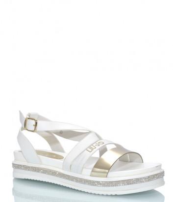 Белые сандалии LIU JO 20268 на танкетке декорированной кристаллами