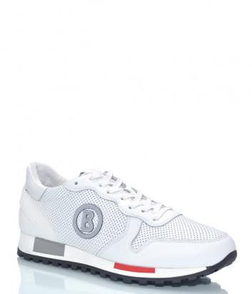 Кожаные кроссовки BOGNER 8911 с перфорацией белые