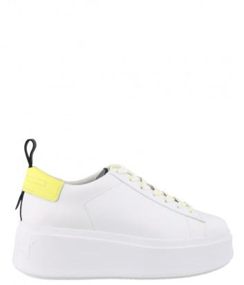 Белые кожаные кеды ASH MOON с ярко-желтыми вставками