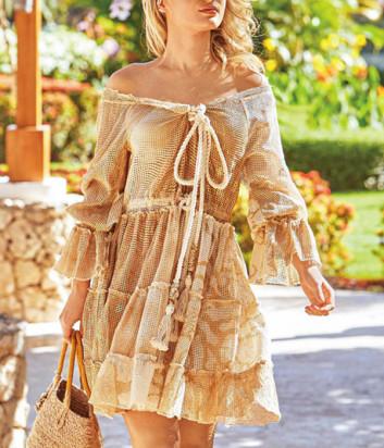 Платье ICONIQUE IC20-044 бежевое