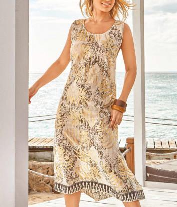 Длинное льняное платье ICONIQUE IC20-066 золотой принт