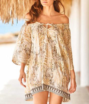 Льняное платье ICONIQUE IC20-067 золотой принт