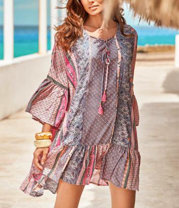 Платье ICONIQUE IC20-110 розовое с принтом