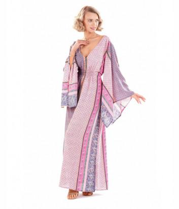 Длинное платье ICONIQUE IC20-111 розовое с принтом