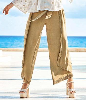 Широкие брюки ICONIQUE IC20-035 цвета хаки