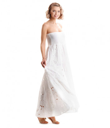 Белое длинное платье ICONIQUE IC20-040 с открытыми плечиками