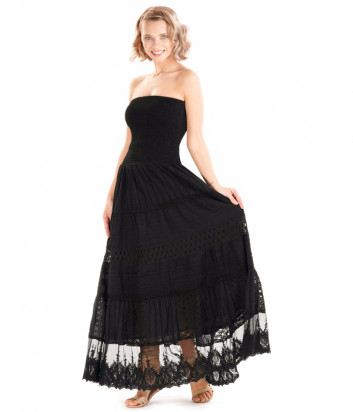 Черное длинное платье ICONIQUE IC20-041 с открытыми плечиками