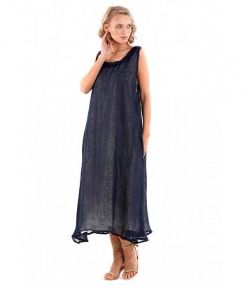 Льняное платье ICONIQUE IC20-046 синее