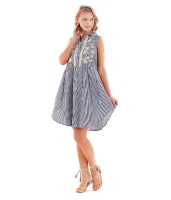 Платье ICONIQUE IC20-097 бело-синий принт