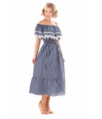 Длинное платье ICONIQUE IC20-101 бело-синий принт