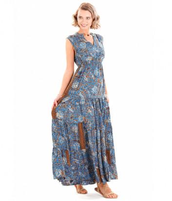 Длинное платье ICONIQUE IC20-115 синее с принтом