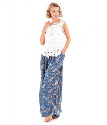 Широкие брюки ICONIQUE IC20-116 синие с принтом