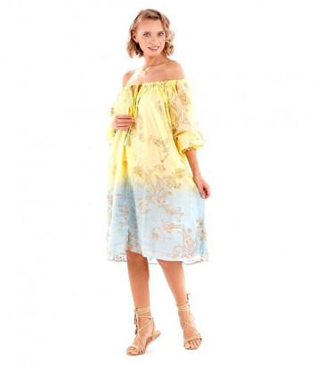 Платье ICONIQUE IC20-121 желто-голубое