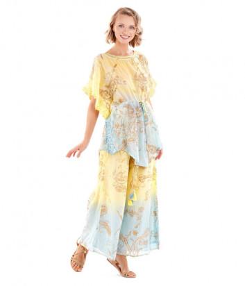 Широкие брюки ICONIQUE IC20-119 желто-голубые