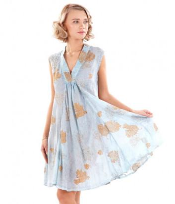 Платье ICONIQUE IC20-126 голубое с принтом