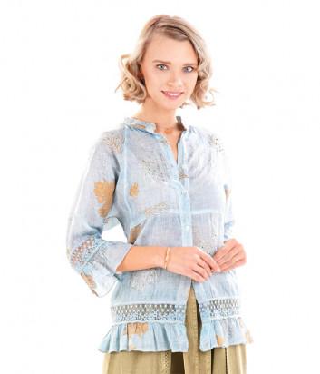 Блуза ICONIQUE IC20-128 голубая с принтом