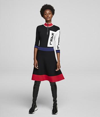 Трикотажное платье KARL LAGERFELD 201W2005 с цветными вставками и надписями