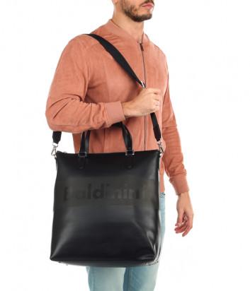 Деловая кожаная сумка Baldinini 450042 с надписью бренда черная
