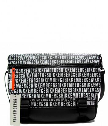 Сумка-почтальонка BIKKEMBERGS E2APME810042B01 черная с принтом