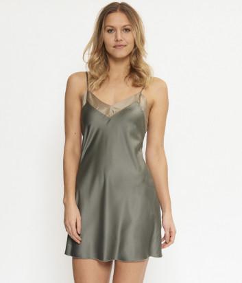 Ночная сорочка LINGADORE 4228CH на тонких бретелях оливковая