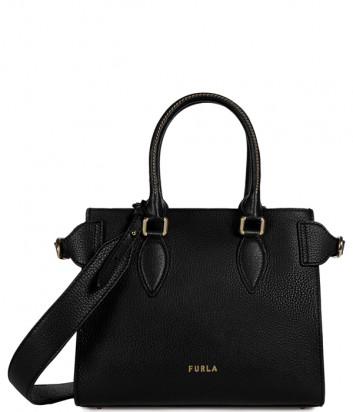 Кожаная сумка FURLA ZONE 1056510 с широким плечевым ремнем черная