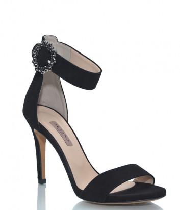 Замшевые босоножки ALBANO 4166 черные с декорированной застежкой