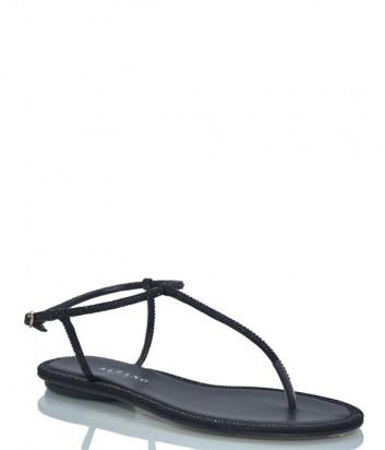 Кожаные сандалии ALBANO 4074 декорированные кристаллами черные