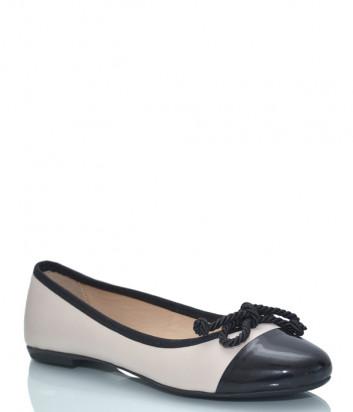 Кожаные балетки ALBANO 4067 черно-бежевые