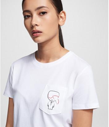 Белая футболка KARL LAGERFELD Ikonik 201W1739 с кармашком