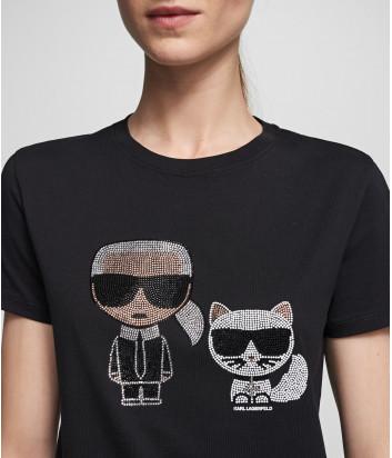 Черная футболка KARL LAGERFELD Ikonik 201W1770 декорированная стразами