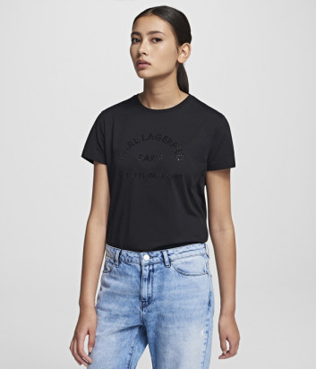 Черная футболка KARL LAGERFELD 201W1720 декорированная стразами