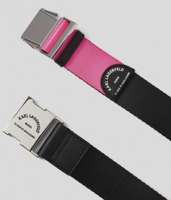 Ремень KARL LAGERFELD 201W3197 с застежкой в виде пряжки черно-розовый