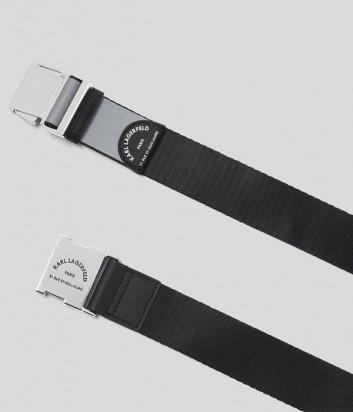 Ремень KARL LAGERFELD 201W3197 с застежкой в виде пряжки черно-серый