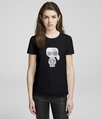 Черная футболка KARL LAGERFELD Ikonik 201W1700 декорированная стразами в виде Карла