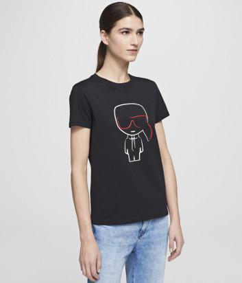 Черная футболка KARL LAGERFELD Ikonik 201W1738 с изображением Карла