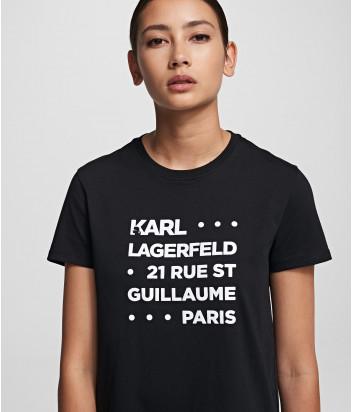 Футболка KARL LAGERFELD 201W1715 черная с надписями