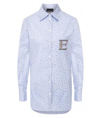 Голубая рубашка ERMANNO ERMANNO SCERVINO 46TCM22 в белую полоску с декором