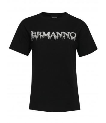Футболка ERMANNO ERMANNO SCERVINO 46TTS17JC0 с декором черная