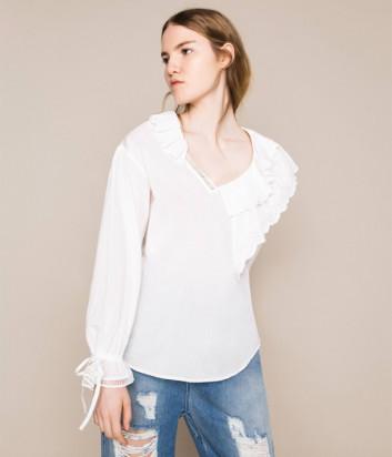 Кремовая блуза TWIN-SET 201MT2091 с оригинальным воротником