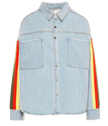Джинсовая рубашка ONE TEASPOON 22934 голубая с яркими полосками на рукавах