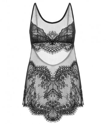Кружевная ночная рубашка GRACIJA RIM Yvonne 10418 с мягкой чашкой черная