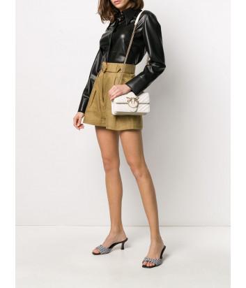 Сумка на цепочке PINKO Love Bag Mini 1P21PDY в стеганной коже кремовая