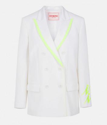 Белый двубортный пиджак ICEBERG L0515219 с салатовыми вставками